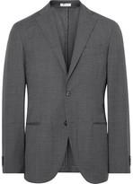 Boglioli Grey K-Jacket Slim-Fit Checked Virgin Wool Suit Jacket