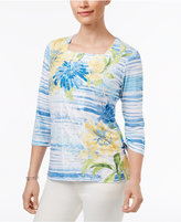 Alfred Dunner Blue Lagoon Floral-Print Top