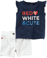 Carter's 2-Pc. Red, White & Cute Cotton Top & Denim Shorts Set, Baby Girls (0-24 months)