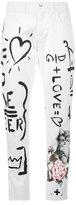 Dolce & Gabbana White Handwritten Print Boyfriend Jeans