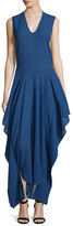 Zero Maria Cornejo Sleeveless Draped V-Neck Dress, Cobalt