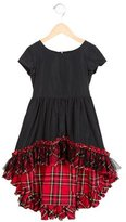 Junior Gaultier Girls' Plaid-Accented High-Low Dress