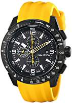Nautica Men's N18599G NST 101 Stainless Steel Watch with Yellow Resin Band