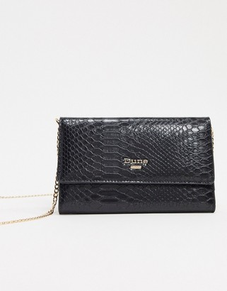 Dune black snake foldover purse