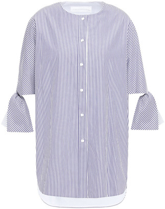 Victoria Victoria Beckham Tie-detailed Striped Cotton-poplin Shirt