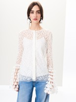 Oscar de la Renta Bell-Sleeve Abstract Lace Blouse