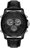 Sean John Men's Portofino Analog-Digital Black Leather Strap Watch 47mm