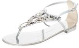 Giuseppe Zanotti Bejeweled Leather Thong Sandal