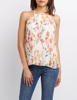 Charlotte Russe Floral Pleated Tank Top