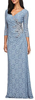 Alex Evenings Surplice V-Neck Beaded Lace Gown