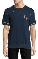 True Religion Distressed Short-Sleeve Logo Sweatshirt, Indigo Blue