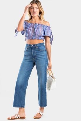 francesca's Mollie Stripe Crop Top - Blue
