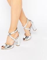 Lipsy Violet Silver Cross Strap Block Heel Sandals