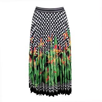 Lalipop Design Polka Dot & Palm Tree Print Pleated Skirt