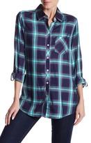 Foxcroft Roll Up Sleeve Shaped Herringbone Plaid Print Shirt