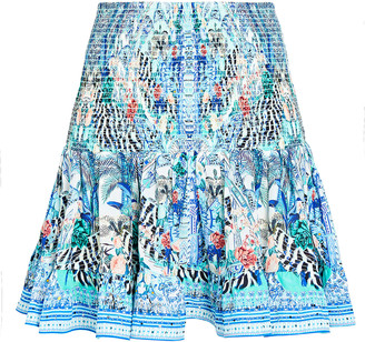Camilla Smocked Floral Print Silk Skirt