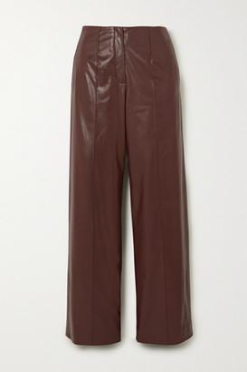 ALEKSANDRE AKHALKATSISHVILI Belted Faux Leather Straight-leg Pants - Brown