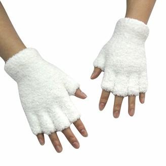 Huyuri Unisex Gloves Mitten Fingerless Fleece Half-Fingers Fuzzy Adult Warm Winter