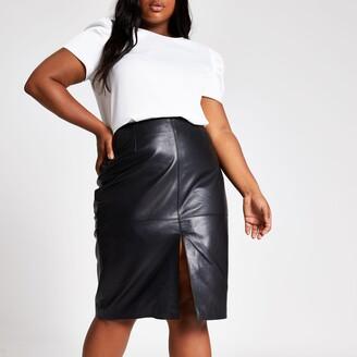 River Island Womens Plus Black leather pencil skirt