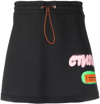 Heron Preston logo patch A-line skirt