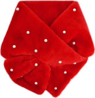 AiSi Womens Pearls Faux Fur Scarf Collar Winter Fluffy Neck Warmer