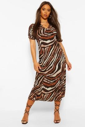 boohoo Mixed Zebra Print Midi Dress