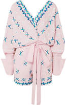 All Things Mochi Magda Embroidered Linen Playsuit - Pink