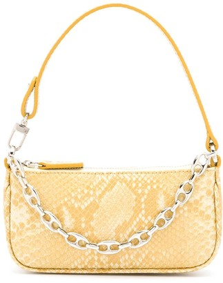 BY FAR Snakeskin Chain-Link Mini Bag
