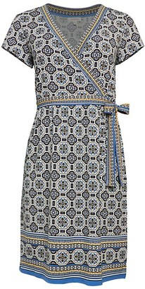 Max Studio Print Short-Sleeve Wrap Dress