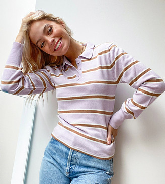 ASOS DESIGN Petite knitted polo jumper in lilac stripe