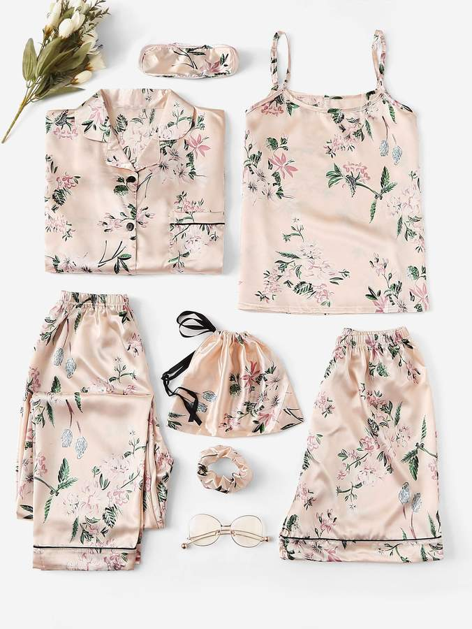 7pcs Floral Print Satin Cami PJ Set With Shirt