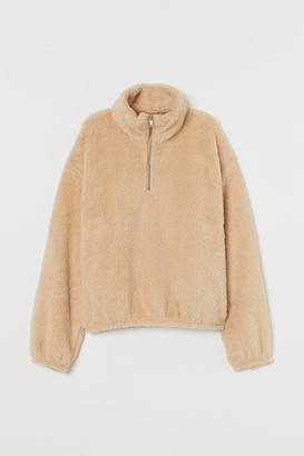 H&M Faux Shearling Top with Zip - Beige