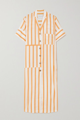 KING & TUCKFIELD Striped Cotton-blend Midi Shirt Dress