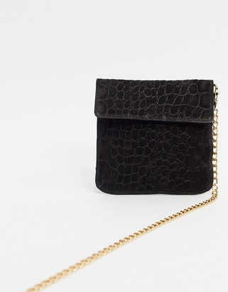 Urban Code Urbancode real leather foldover cross body bag with chain strap-Black