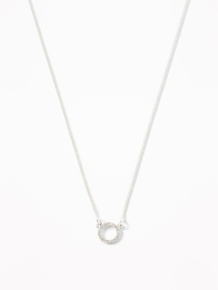 Old Navy Pave Circle Pendant Necklace For Women