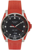 Gucci Red & Silver Dive Watch