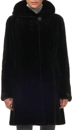 Gorski Reversible Sheared Mink Fur Stroller Coat w/ Hood