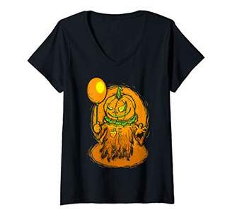 Womens Vintage Scary Jack o Lantern Halloween Night Party Costume V-Neck T-Shirt