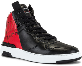 Givenchy Hi Top Wing Sneaker in Black & Red | FWRD