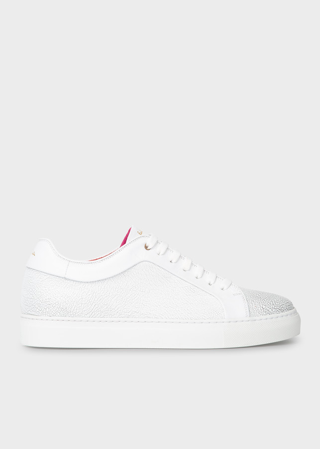 Paul Smith Men's White Leather 'Basso' Sneakers With Crackle Effect
