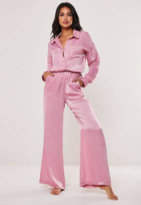 Missguided Pink Satin Sheen Wide Leg Pyjama Pants