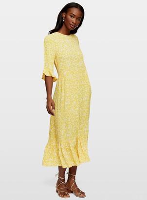 Miss Selfridge Ochre Minnie Ditsy Smock Midi Dress