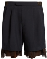 Kolor Tulle-underlayer Wool-blend Shorts