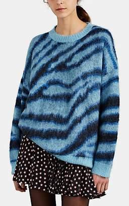 R 13 Women's Zebra-Striped Fuzzy-Knit Oversized Sweater - Blue
