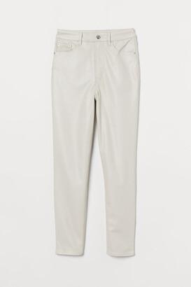 H&M Faux Leather Pants - Beige