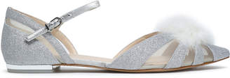 Sophia Webster Paola Feather-embellished Glittered Leather Point-toe Flats
