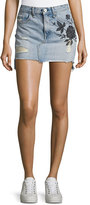Rag & Bone Dive Embroidered Denim Mini Skirt, Indigo
