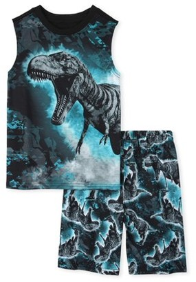 The Children's Place The Childrens Place Sleeveless Dino Print Pajama Short 2-Piece Set (Little Boys and Big Boys)