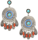 Lydell NYC Carved Silvertone Circle Drop Earrings, Blue Multi