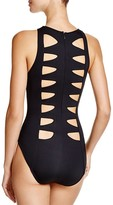 Carmen Marc Valvo High-Neck One Piece Swimsuit